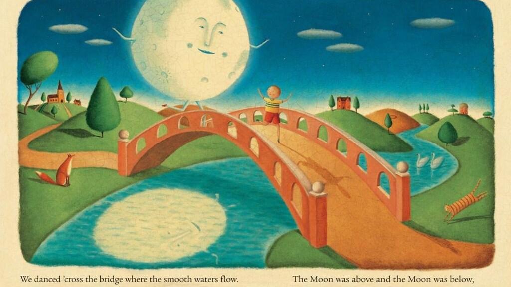 Een illustratie uit I took the moon for a walk van Carolyn Curtis en Alison Jay