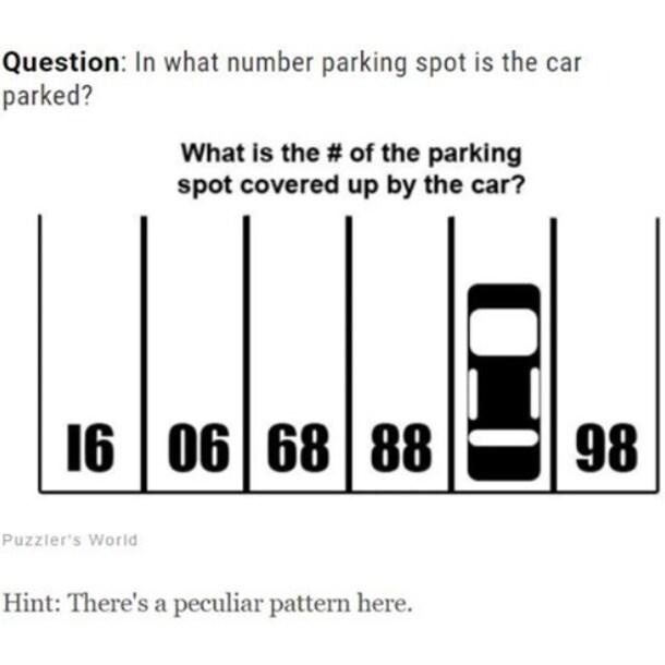 Welk nummer staat er onder de geparkeerde auto? Een hint: kies eens een ander perspectief.