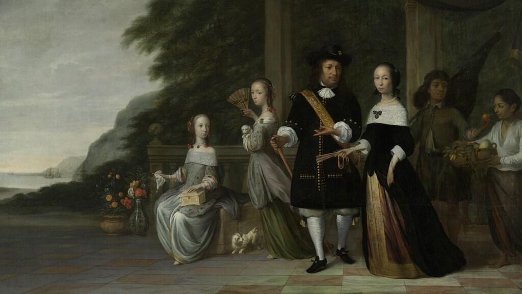 Schilderij van Jacob Coeman, met daarop de familie Cnoll en twee tot slaaf gemaakte bedienden, van wie de man waarschijnlijk Surapati is.