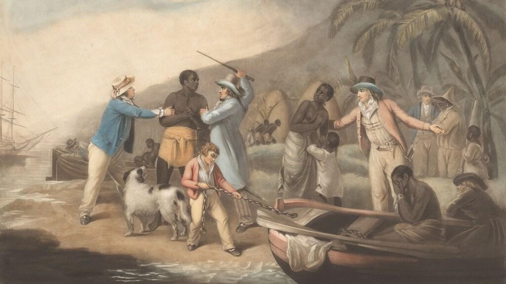 Uitsnede van 'Afrikaanse familie wordt gescheiden door Europese slavenhandelaren', John Raphael Smith, naar George Morland, 1791