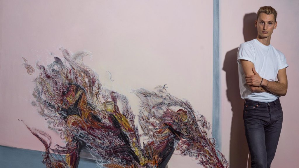 Floris Felix voor een van zijn werken