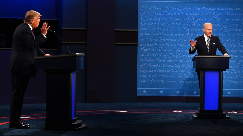Trump en Biden tijdens hun debat.