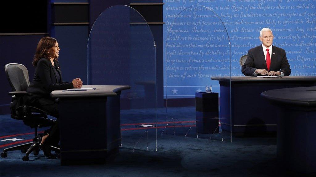 Harris en Pence op het toneel van het debat.