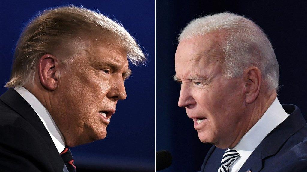 Trump en Biden staan nog een laatste keer tegenover elkaar.