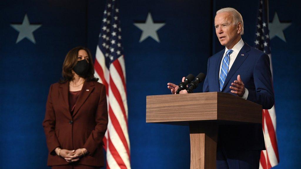 De nieuwe vicepresident Kamala Harris en de aanstaande president, Joe Biden.