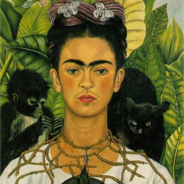 Self-Portrait with Thorn Necklace and Hummingbird (1940) by Frida Kahlo